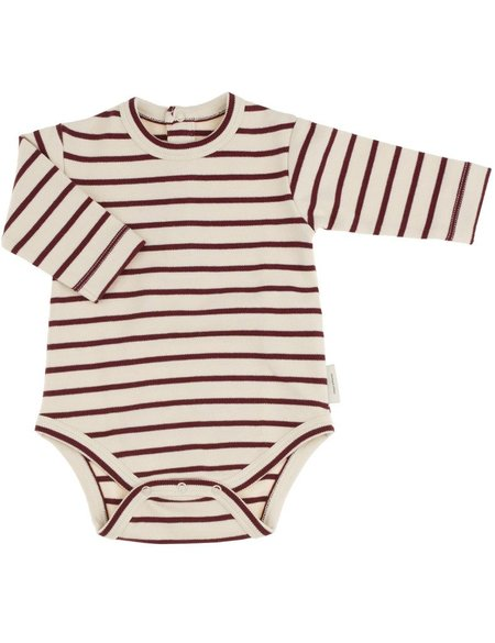 KID'S Tiny Cottons STRIPED LONG SLEEVE BODY - BORDEAUX