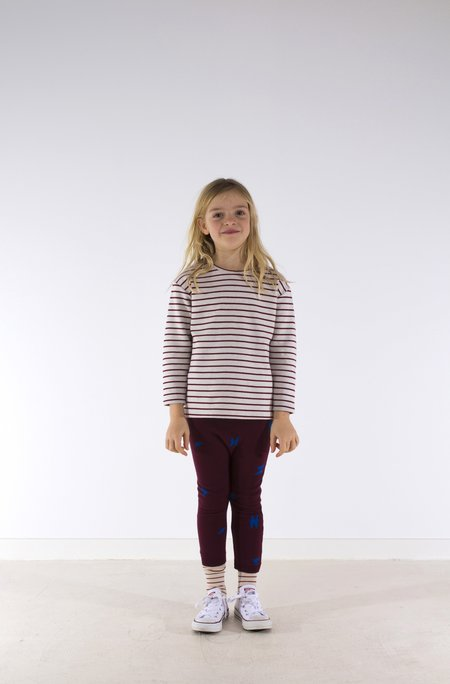 Kid's Tiny Cottons STRIPED LONG SLEEVE TEE - BORDEAUX