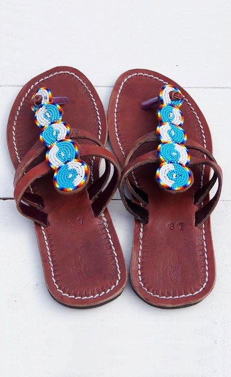 Studio One Eighty Nine Blue and White Circle Beaded Sandals