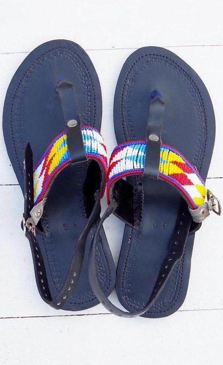 Studio One Eighty Nine Multicolor Diamond Stripe Beaded Sandals