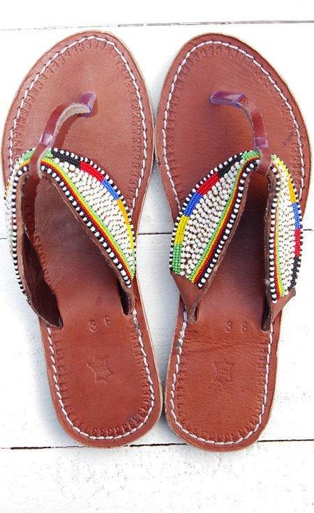 Studio One Eighty Nine Multicolor White Stripe Beaded Sandals
