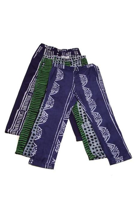 Studio One Eighty Nine Navy Bogolan-Print Cotton Hand-Batik Pants