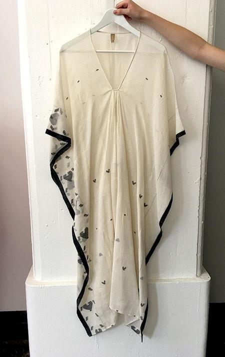 Two White and black woven caftan