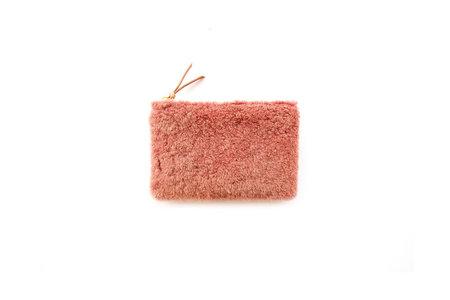 Primecut Dusty Pink Shearling Zipper Wallet