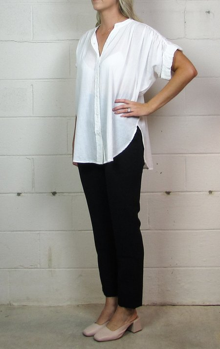 Heather Twill Voile Maryann V-neck Shirt - White