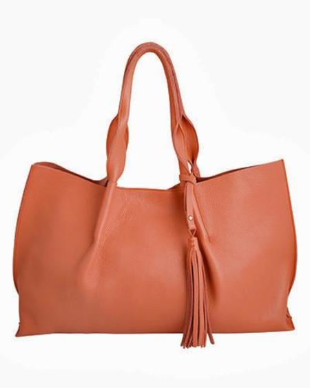 Oliveve Isabel Tote in Cognac Pebble Leather with Leather Tassel