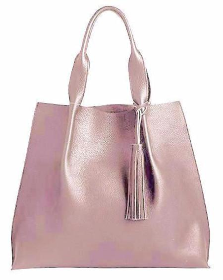 Oliveve Maggie Tote in Rosy Pebble Leather with Leather Tassel