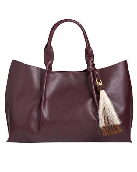 Oliveve Isabel Tote in Merlot Atlantic Leather with Double Horsehair Tassel