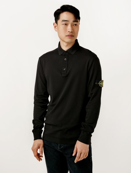 Stone Island Mens Polo Shirt L/S - Black