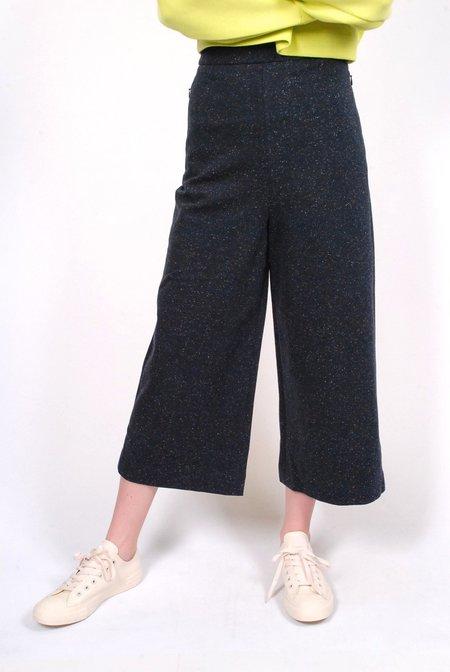 Tibi Imogen Tweed High Waisted Pants - Navy Melange