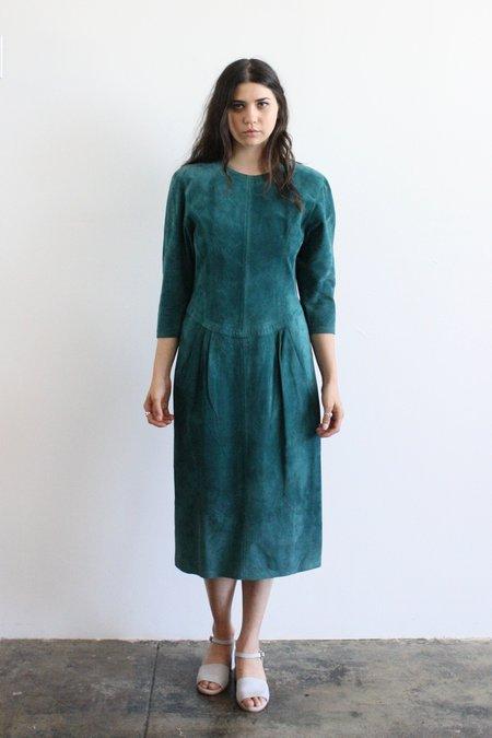 Vintage & Pre-loved Emerald Suede Dress