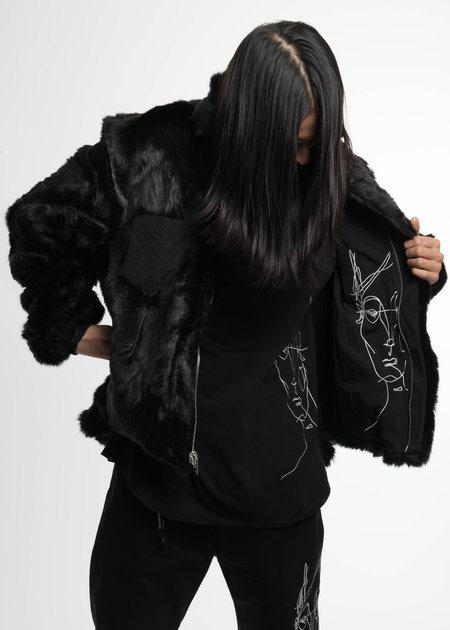 Siki Im Black Coach Jacket w/ Fur Lining