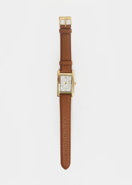 Unisex Berg + Betts Gold and Camel Classic Watch