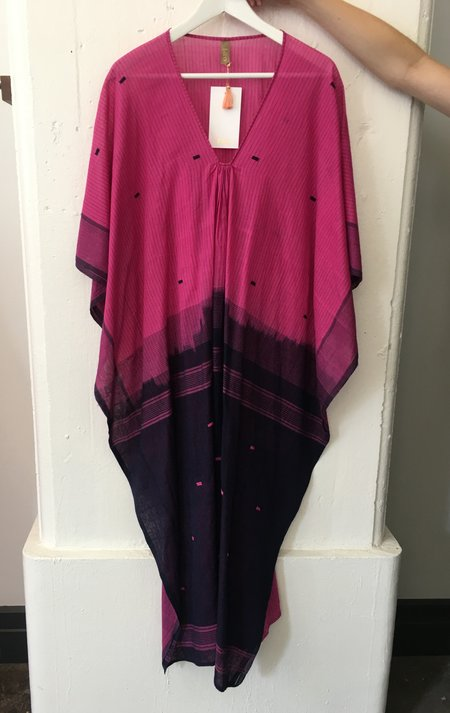 Two Fuchsia and Purple Stripe Caftan