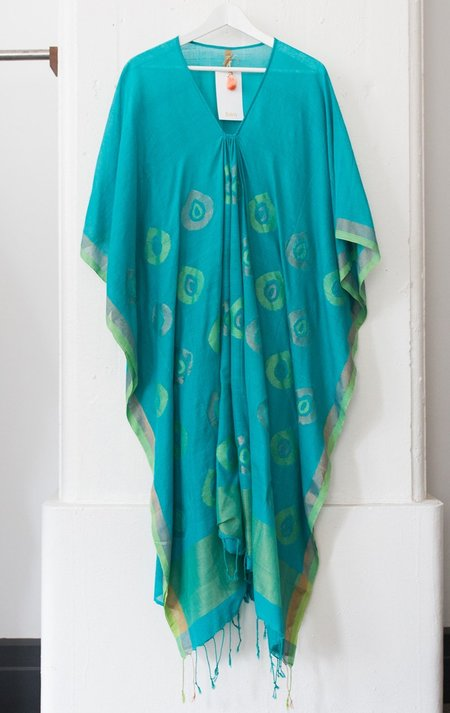 Two Teal Tassel Caftan with Circle Detail