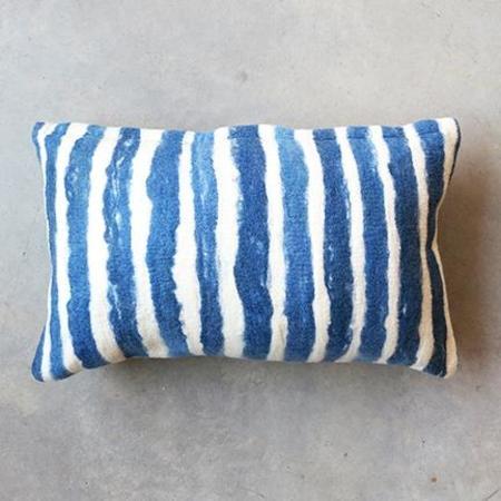 Minna Felted Pillow in Blue Lumbar