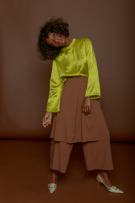 Wolcott : Takemoto Jane Skirt-Pant in Camel Georgette