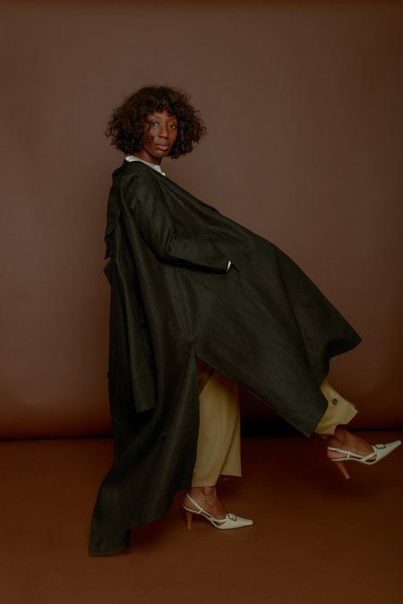Wolcott : Takemoto Linen Norma Jacket in Black