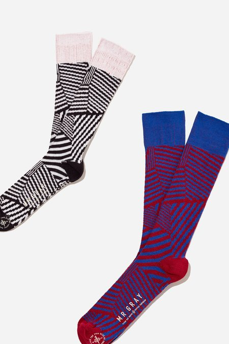 Mr. Gray Dazzle Camo Print Sock - Red + White