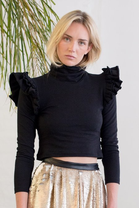 Heidi Merrick Winged Turtleneck - Black