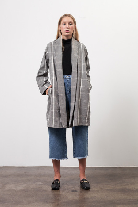 Osei-Duro Theca Coat in Handwoven Gingham