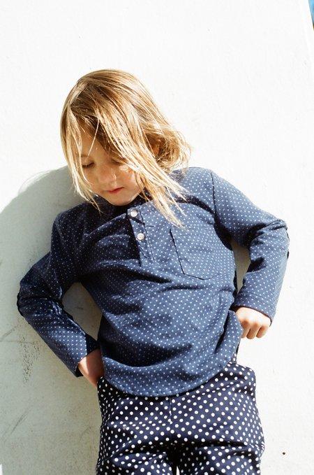 Kid's Shopboyandgirl Popover in Navy Polka Dot