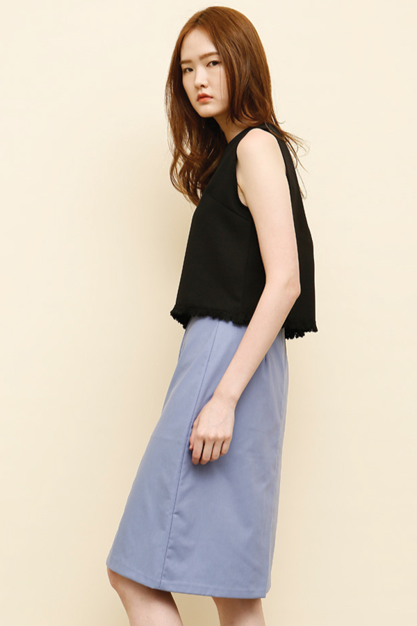 AMONG by ROCKET X LUNCH Black Fringe Top