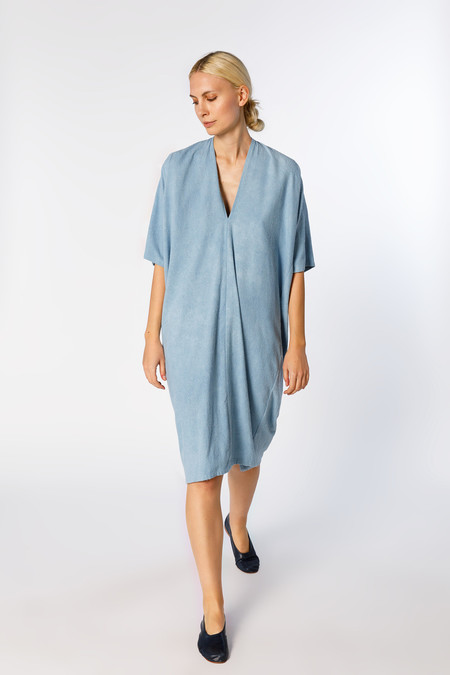 Miranda Bennett Muse Dress in Light Indigo Silk Noil