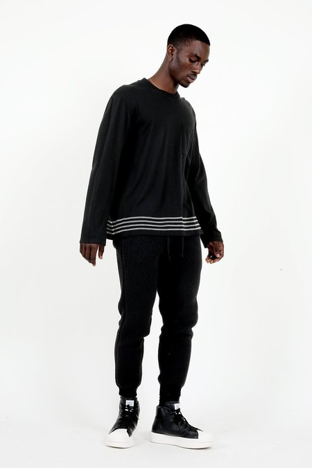 Our Legacy Black Embroidered Stripes Box Longsleeve
