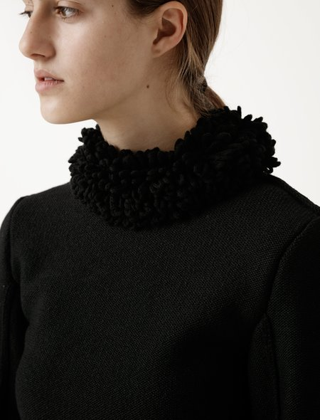 Lemaire Womens Curly Collar Sweater - Black