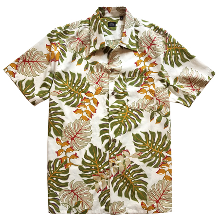David Hart WHITE MONSTERA LEAF CAMP SHIRT