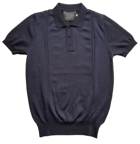 David Hart NAVY CABLE KNIT POLO