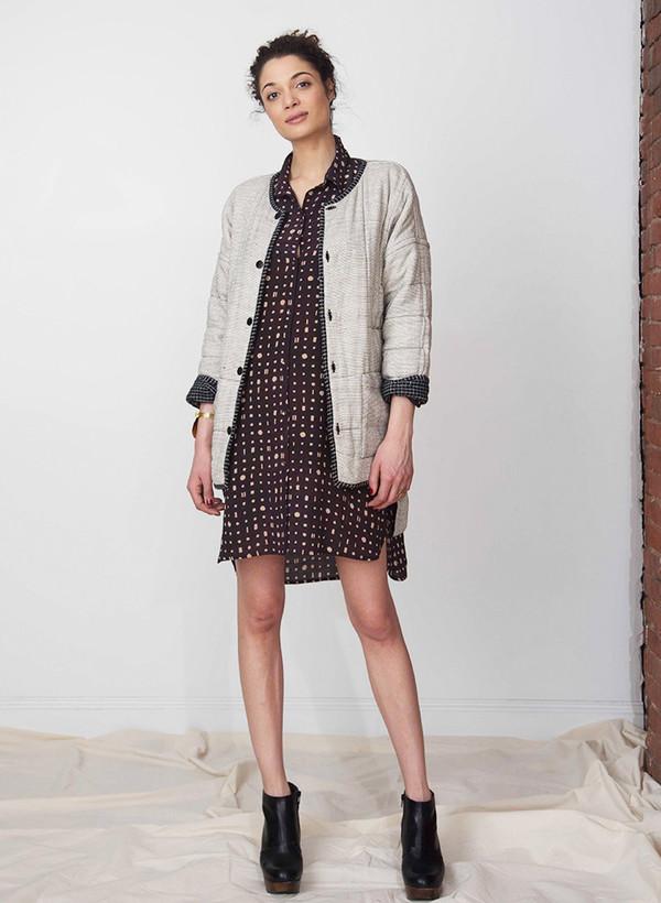 Seek Collective Stevie shirt dress | black/cream portals print