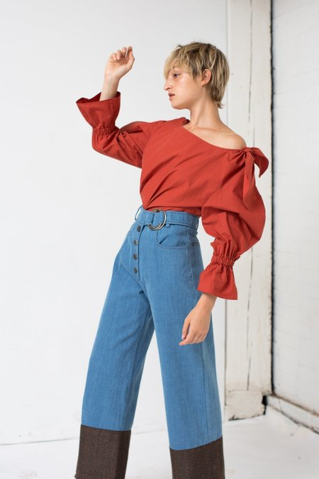 Rejina Pyo Emily Jeans in Blue Denim/Brown Check Suiting