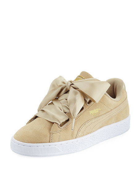 Puma Suede Heart Satin Sneakers - Safari