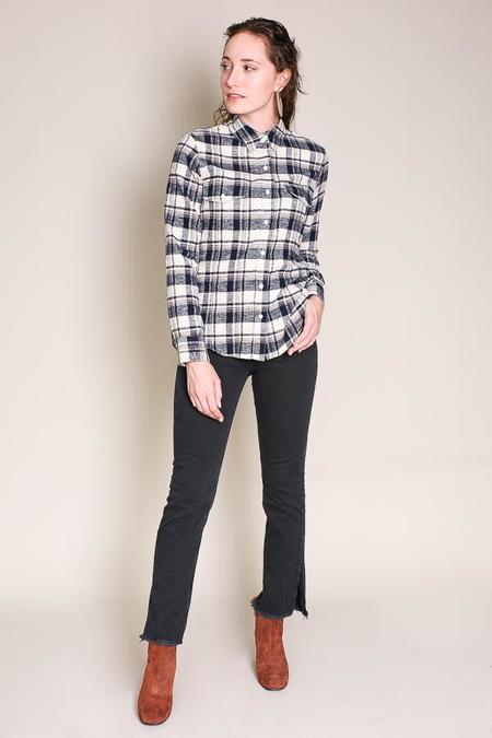 Jenni Kayne Flannel work shirt in ivory/navy