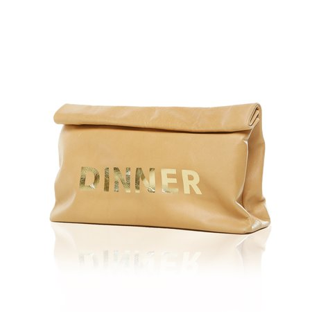 Marie Turnor THE DINNER BAG - GOLD 'DINNER' PRINT