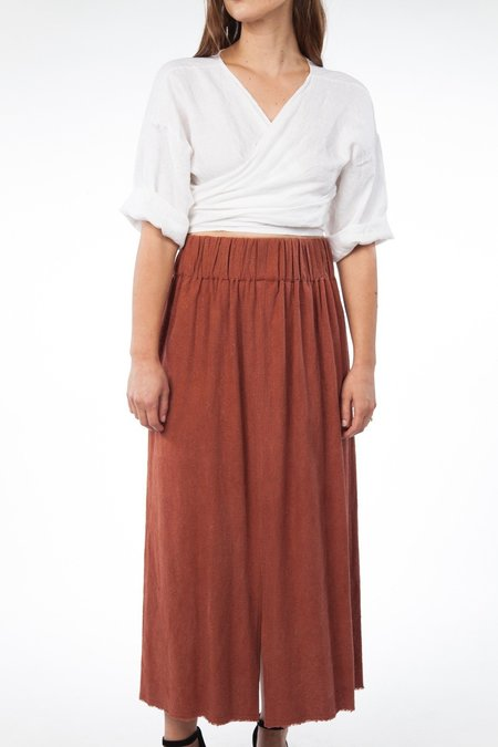 Miranda Bennett In-Stock: Paper Bag Skirt, Silk Noil in Terracotta