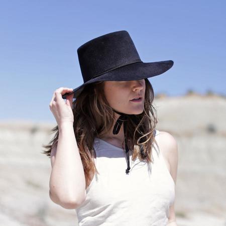 Clyde Wide Brim Gaucho Hat - Black Angora