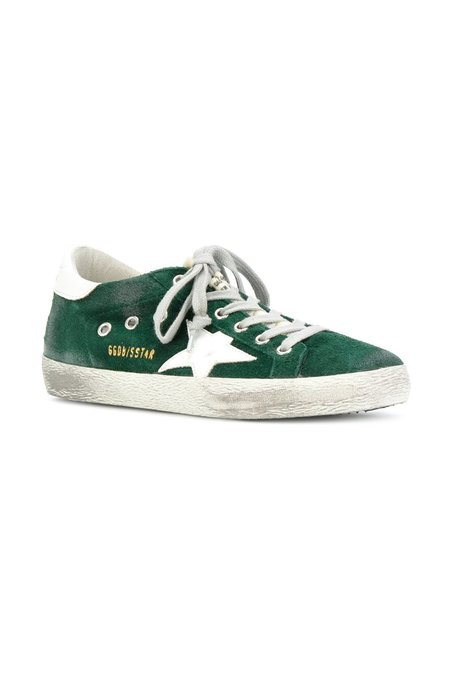 Golden Goose SUPERSTAR SNEAKERS IN GREEN SUEDE
