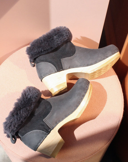 "No.6 5"" Shearling Clog Boot on Mid Heel in Navy Suede"