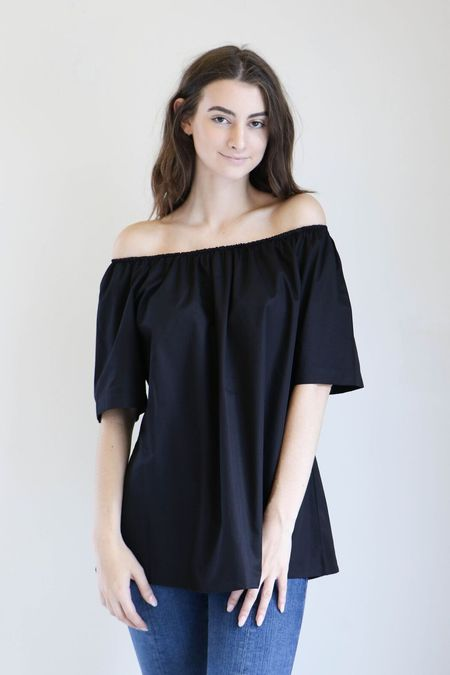 Sunja Link Gathered Neck Top in Black Poplin