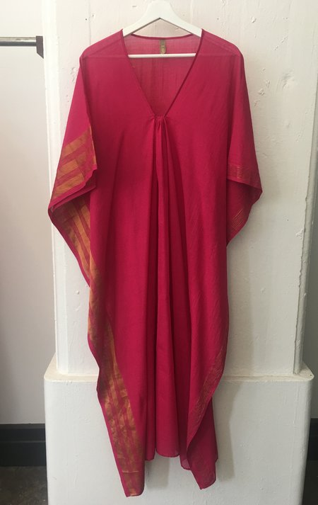 Two Fuchsia Caftan with Metallic Stripes