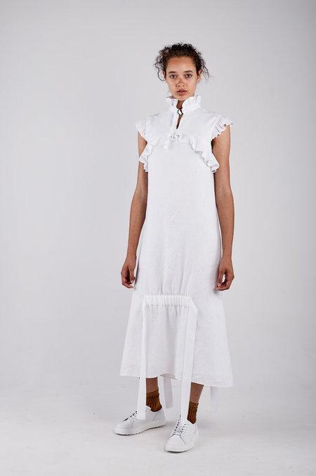Kahle Ribbon Tie Bell Dress - White
