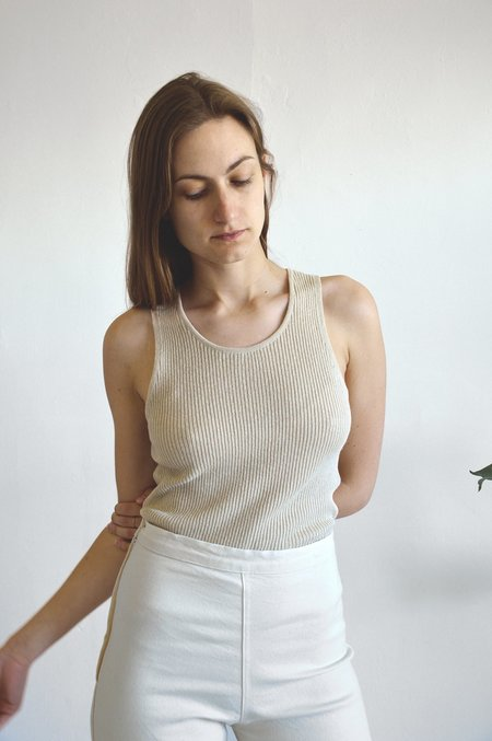 Ali Golden Ribbed Tank in Natural
