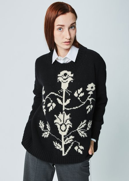 Hache Floral Stem Knit Sweater