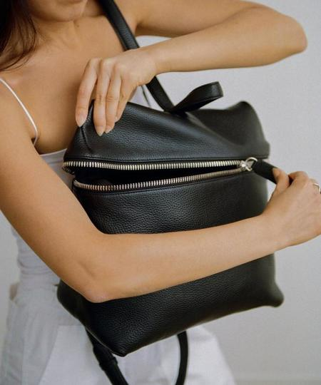Kara Black Pebble Leather Backpack