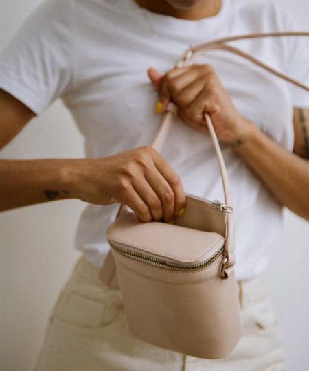 Kara Dusty Pink Box Leather Stowaway Bag