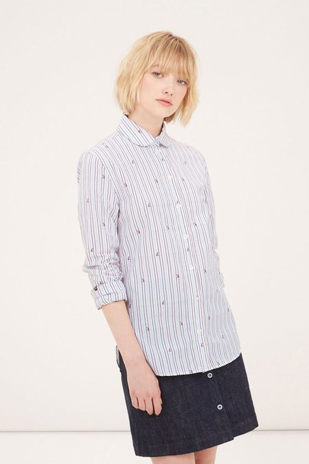 Kitsune Fox Baby Collar Shirt - Red Navy Stripe