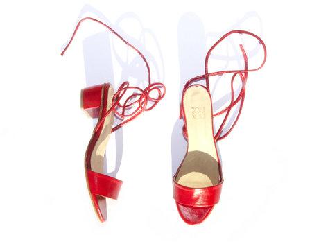 ZOU XOU Anaise Ankle Tie Sandal in Cherry